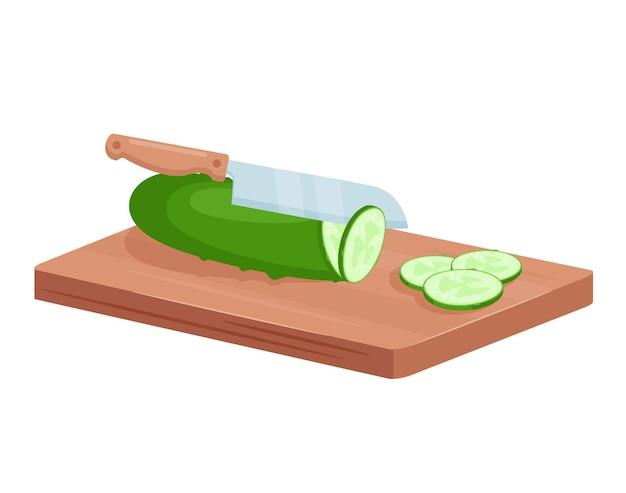 녹색 오이 야채를 자릅니다.