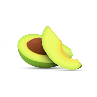 Cut half avocado with pit and slice avocado realistic isometric