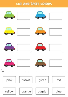 色の名前を切り取って貼り付けます。子供のためのワークシート。