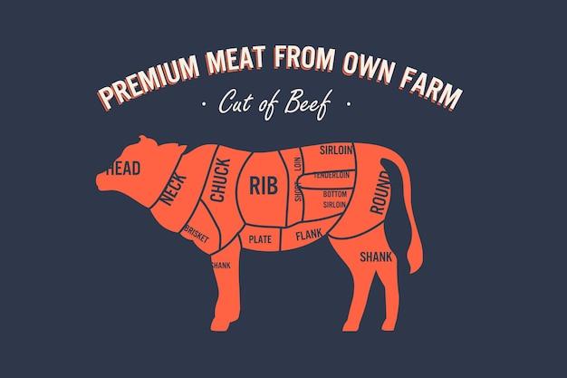 쇠고기 컷 세트 포스터 정육점 다이어그램 및 구성표 암소 빈티지 인쇄 상의 handdrawn