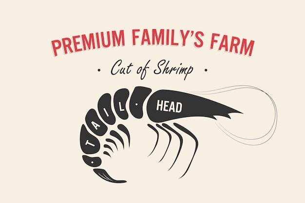 肉のカットセットポスター肉屋図とスキームエビ