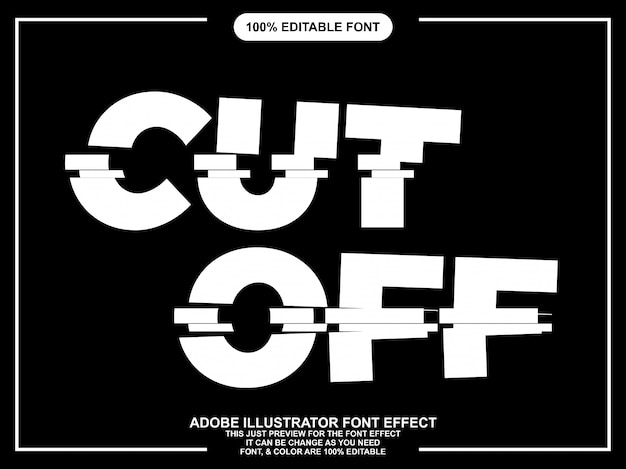 Cut off editable typography font effect