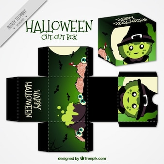 Cut out box with halloween witch