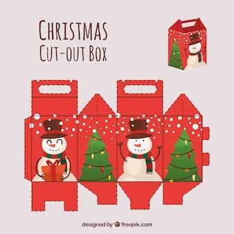 눈사람과 나무와 컷 아웃 상자