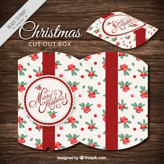 Cut out christmas box with mistletoe design