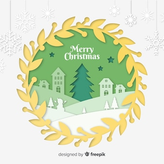 Cut out christmas town background