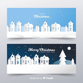 Cut out christmas town landscape banner