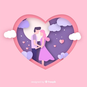 Cut out couple valentine's day background