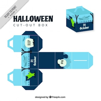 Cut out decorative halloween box of graveyard