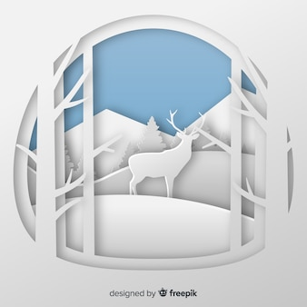 Cut out deer winter background