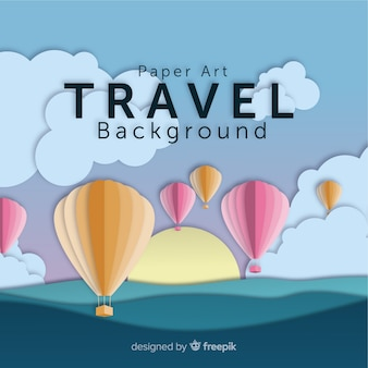 Cut out hot air balloons travel background