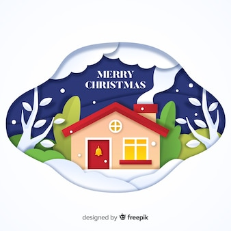 Cut out house christmas background
