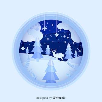 Cut out landscape christmas background
