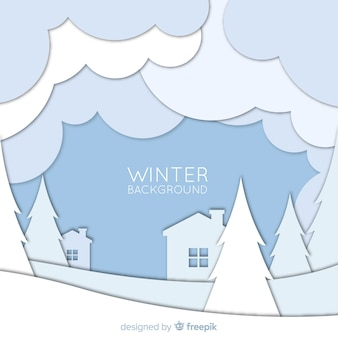 Cut out landscape winter background