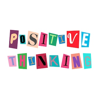 문자를 잘라내고 여러 가지 빛깔의 abc 알파벳을 콜라주합니다. 긍정적인 생각