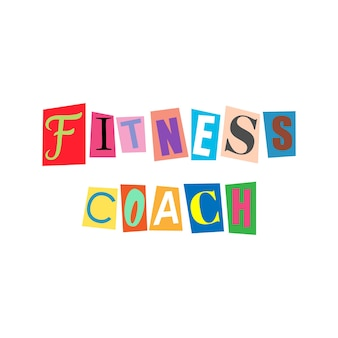 Cut out letters and collage abc alphabets in multicolors fitness coach