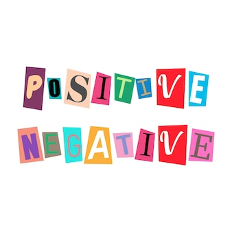 Cut out letters and collage abc alphabets in multicolors positive negative