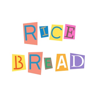 Cut out letters and collage abc alphabets in multicolors rice bread