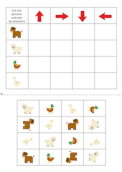 아래 그림을 오려내고 방향에 따라 정렬하세요. 아이들을 위한 교육 게임.
