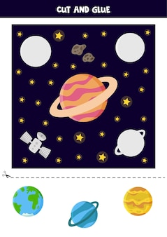Cut out pictures and glue them into right places. space worksheet.