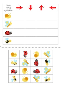 Cut out pictures below and sort them out by directions. educational game for kids.