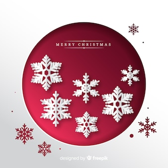 Cut out snowflakes christmas background