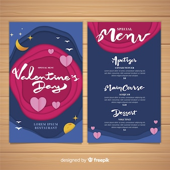 Cut out valentine menu template