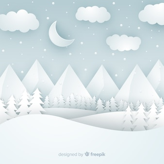 Cut out winter landscape background