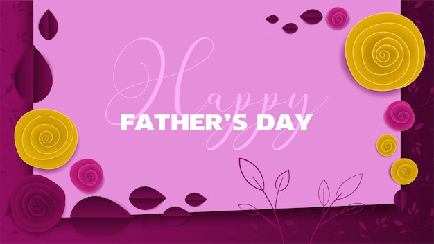 Cut paper floral banner fathers day