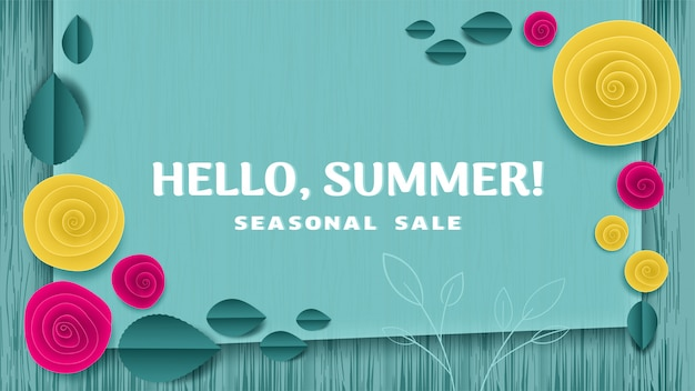 Cut paper floral banner hello summer