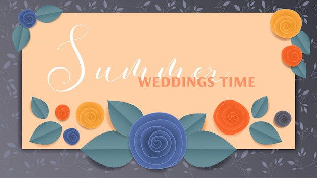 Cut paper floral banner summer wedding