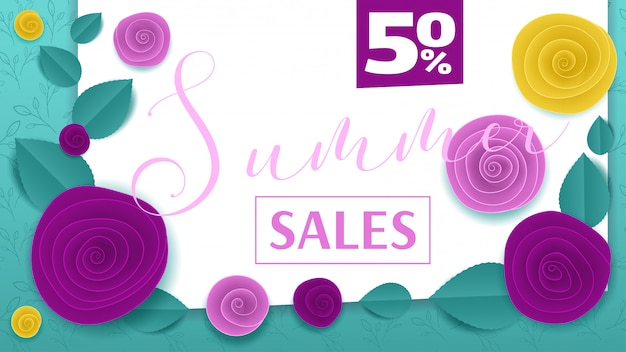 Cut paper floral mint banner summer sales 50