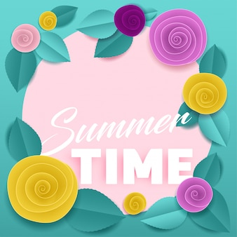 Cut paper floral mint poster summer time