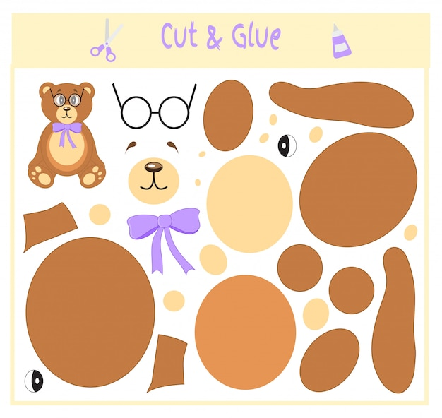 Cut parts of the image and glue on the paper. bear in glasses. teddy