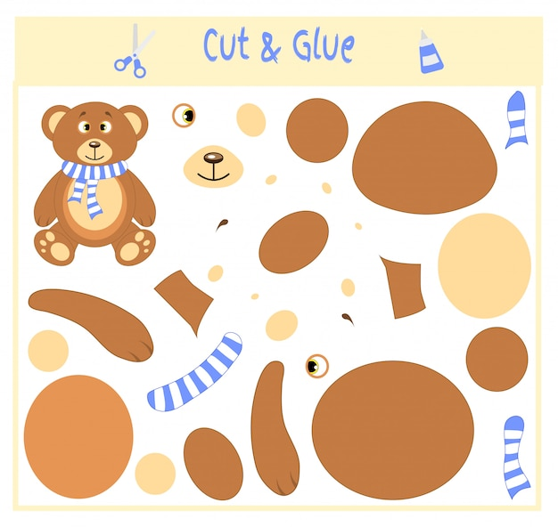 Cut parts of the image and glue on the paper. use scissors and glue to create the applique. bear in scarf. teddy