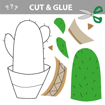 Cut and paste. cut and glue - education for kids - green cactus
