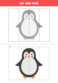 Cut and paste game for kids. educational logical puzzle for preschoolers. cutting practice for children.  illustration of cute penguin in cartoon style.