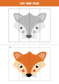 Cut picture of cute fox and paste it by parts. educational logical game for kids. puzzle for preschoolers.