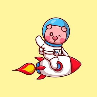 カット豚宇宙飛行士ロケットに乗って手を振る漫画ベクトルアイコンイラスト。動物技術アイコンコンセプト分離プレミアムベクトル。フラット漫画スタイル