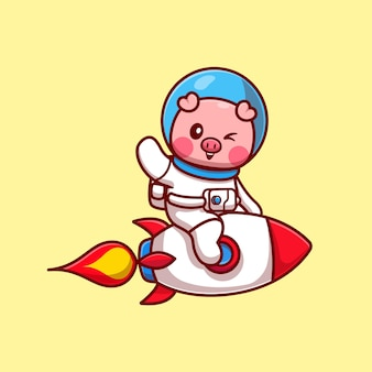 Cut pig astronaut riding rocket and waving hand cartoon vector icon illustration. animal technology icon concept isolated premium vector. flat cartoon style