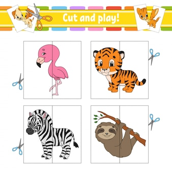 Cut and play. flash cards. color puzzle. education developing worksheet. activity page. game for children.