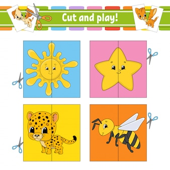 Cut and play. flash cards. color puzzle. education developing worksheet.