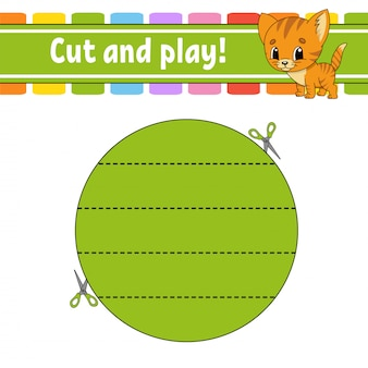 Cut and play. logic puzzle for kids. education developing worksheet.