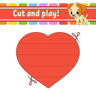 Cut and play. logic puzzle for kids.