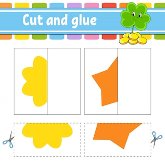 Cut and play. paper game with glue. flash cards. clover, flower, star. education worksheet.