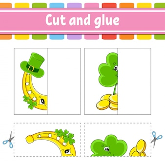 Cut and play. paper game with glue. flash cards. education worksheet. horseshoe, clover. st. patrick's day.