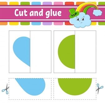 Cut and play. paper game with glue. flash cards. education worksheet. rainbow, circle, heart.