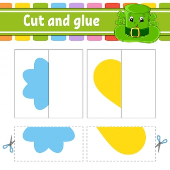 Cut and play. paper game with glue. flash cards. flower, heart, hat.
