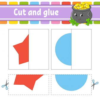 Cut and play. paper game with glue. flash cards. pot, star, circle. education worksheet. activity page.