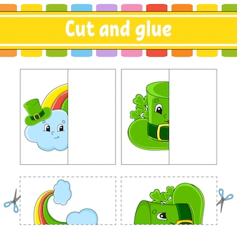 Cut and play. paper game with glue. flash cards. rainbow, hat. education worksheet.